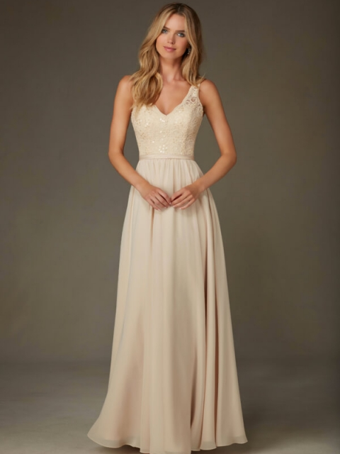 Mori Lee bridesmaid dress style number 122. Elegant Bridesmaids Dress Featuring a Beaded Lace, V-Neck Bodice with Flowy Chiffon Skirt. Shown in Champagne.