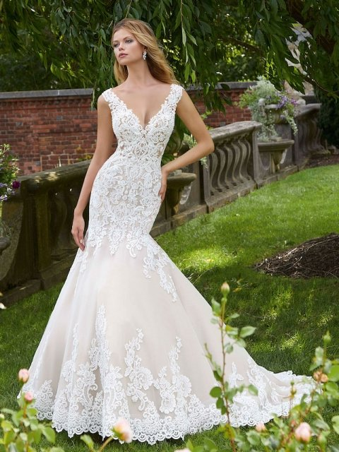Lace fit and flare Morilee wedding gown with detailed lace straps under $3000
