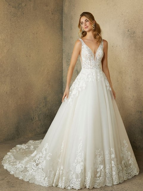 Morilee ballgown with lace straps style 2089