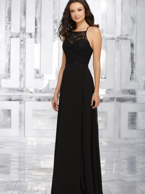Mori Lee bridesmaid dress style number 21542. Beaded Lace Bodice and Chiffon A-Line Skirt Create The Perfect Bridesmaids Look. Criss Cross Back Straps. Shown in Black.