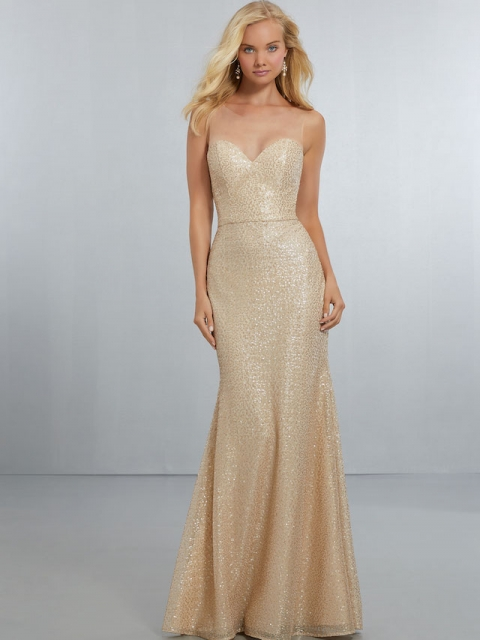 Mori Lee style number 21560. Sweetheart, Exquisite Caviar Mesh, A-Line Gown. The Illusion Net, Hi-Neckline Extends Down to V-Back Neckline with Back Zipper. Shown in Gold.