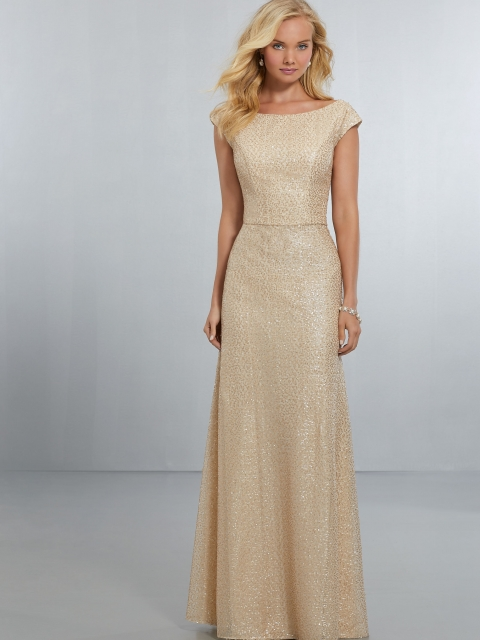 Mori Lee bridesmaid dress style number 21575.  Caviar Mesh A-Line Gown with High Neckline and Cap Sleeve Detail, Extending Down to a Low, Scoop Back with Strap Cutouts and Zipper. Shown in Gold.