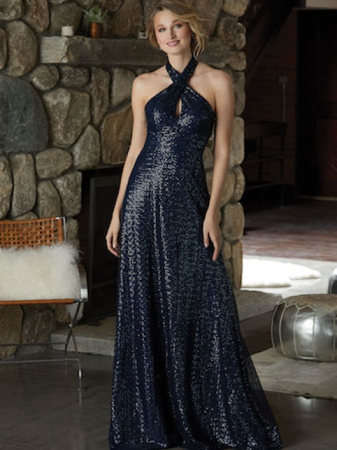 Caviar Mesh Bridesmaid Dress with a Glamorous Criss Cross Neckline and A-Line Silhouette. Shown in Navy.