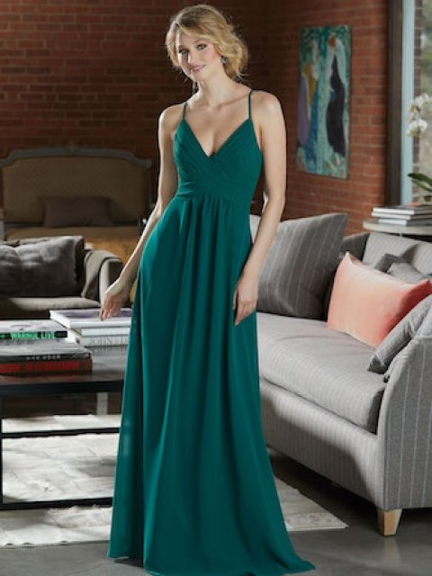 Chiffon Bridesmaid Dress with Deep V-Neckline. Sexy Criss Cross Straps and a Diamond Keyhole Back. Shown in Emerald.