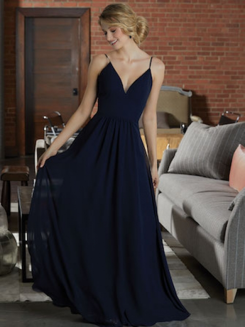 Mori Lee bridesmaid dress style number 21597. Chiffon Bridesmaid Dress Featuring a Deep V-Neckline and Full A-Line Skirt. View. Shown in Navy.