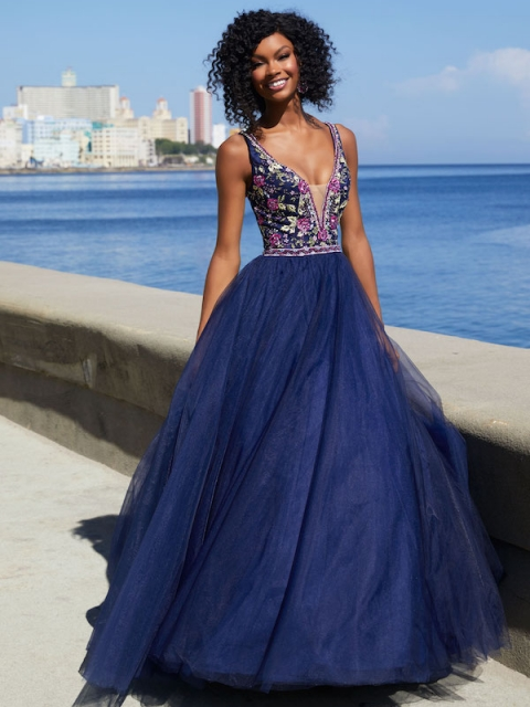 Mori Lee long prom dress. Shown in Navy Blue/Multi.