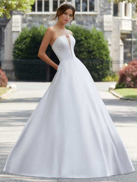 5807 satin aline with pockets and straight neckline