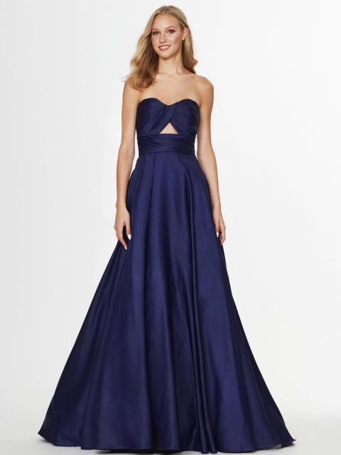 Alison and Angela long prom dress style number 91045. Shown in Navy.