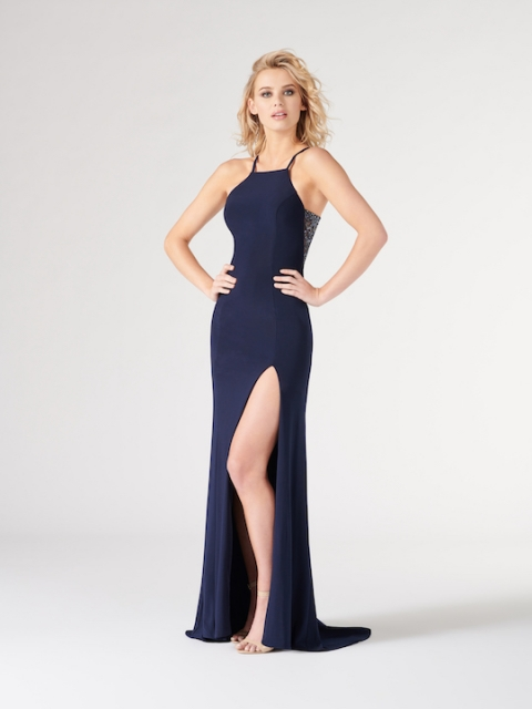 Colette for Mon Cheri long prom dress style number CL19858. Shown in navy Blue.