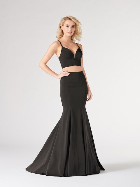 Colette for Mon Cheri long two piece prom dress style number CL19894. Shown in Black.