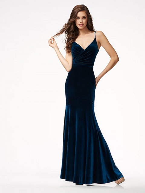 Navy Velvet prom dress- Plus size