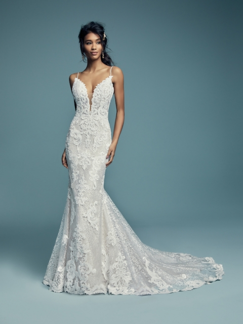 bold lace fitted Maggie Sottero wedding dress with plunging neckline blush lining under $2000
