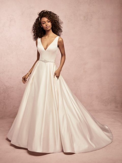 Full satin ballgown Rebecca Ingram wedding dress with v neck and satin buttons under $1600