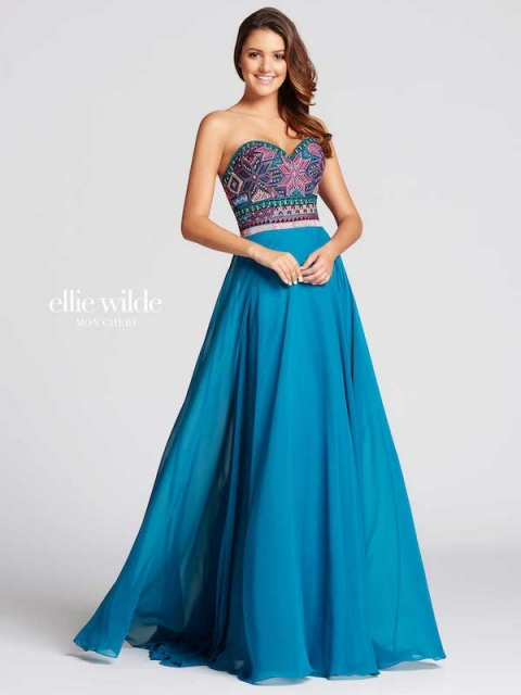 Elle Wilde long prom dress style number EW118039. Shown in Teal/Multi.