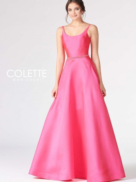 pink prom dress, aline with straps