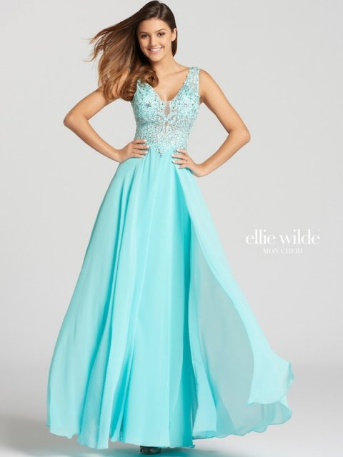 Elle Wilde long prom dress style number EW118150. Shown in Aqua.