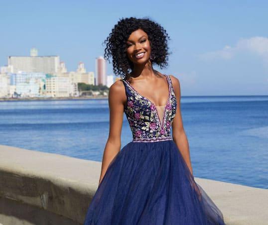 Madeline Gardner Morilee tulle prom dress.
